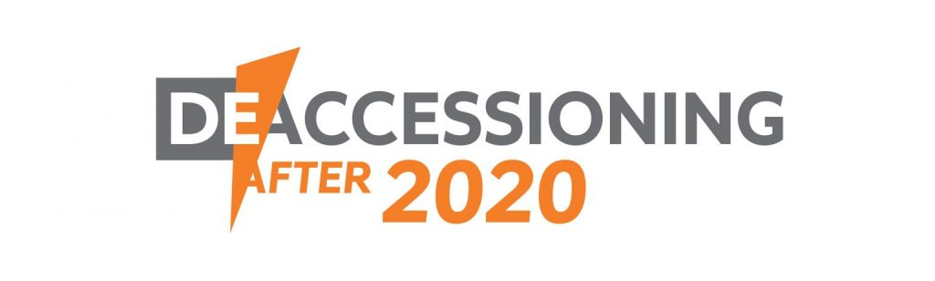 """Graphic for the symposium, """"Deaccessioning After 2020."""""""